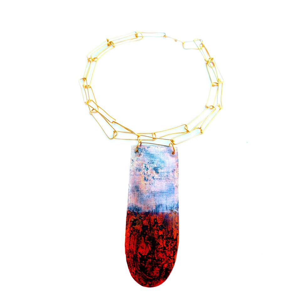 Dora-Haralambaki-necklace-n2015 grey-red